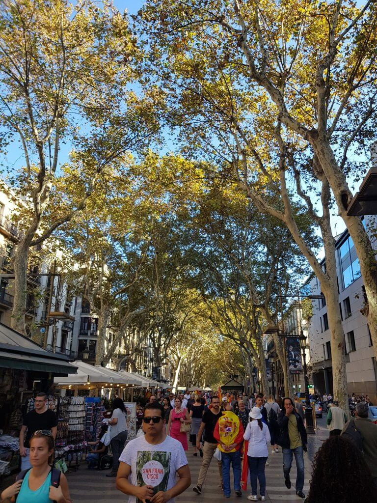 La Ramba is a pedestrian street in Barcelona