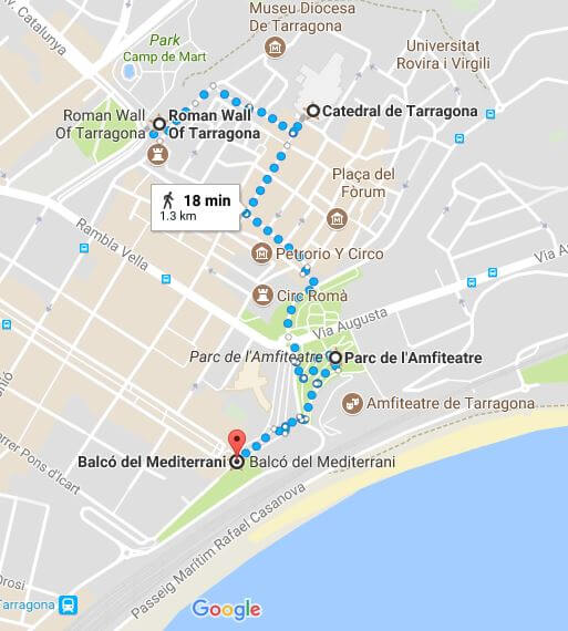 Tarragona map and itinerary for visiting the must-see places