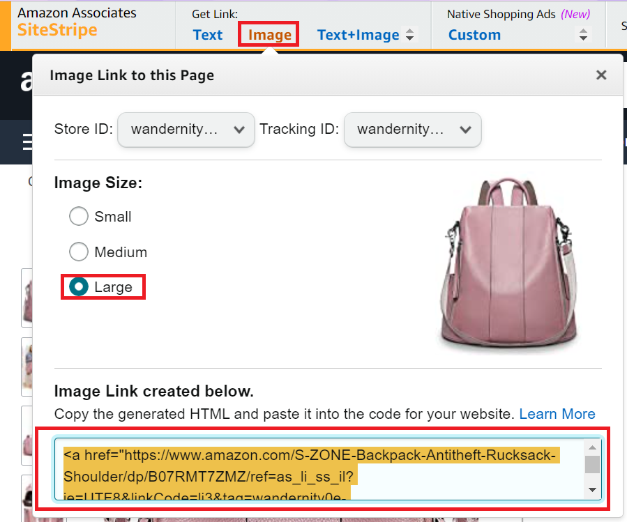 How to get Amazon listing image to embed in a blog post