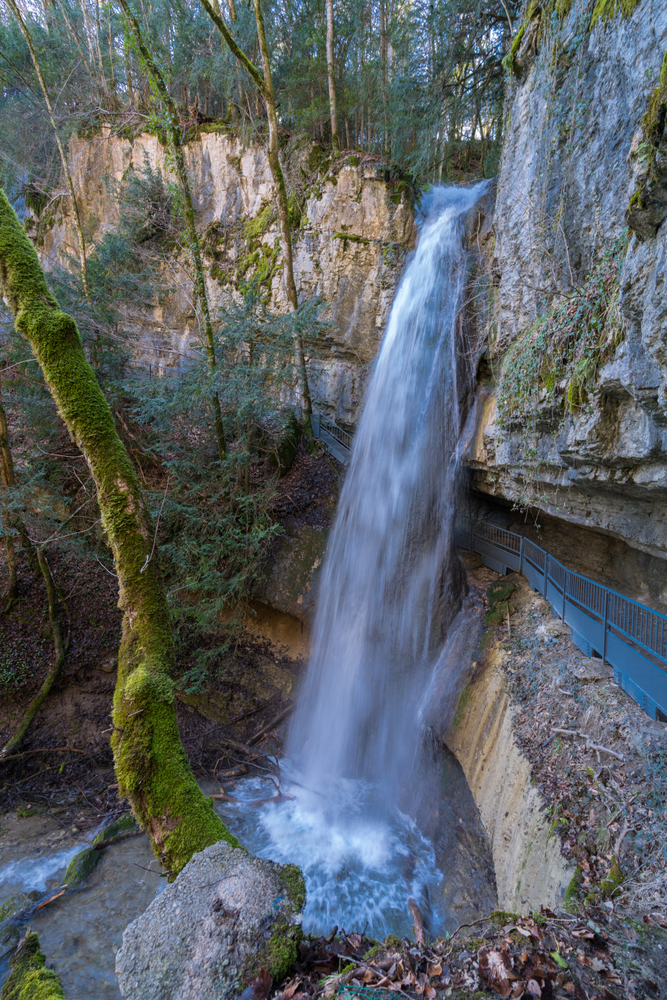 Scenic view of Cascades d'Angon - amazing waterfall near lake Annecy, Haute-Savoie, France